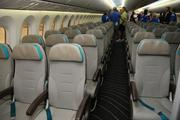 Boeing employees check out the interior of the 787 Dreamliner.