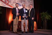 Craft3's Adam Zimmerman (middle) brought home the hardware during today's Portland Business Journal 40 Under 40 awards.