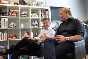 Adidas AG CEO Herbert Hainer (left) and Adidas America Inc. President Patrik Nilsson discuss the German sporting goods brand's North American growth strategy from the Adidas Village campus in Portland's Overlook neighborhood.