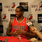 """Power forward LaMarcus Aldridge, on former teammate Brandon Roy's move to the Minnesota Timberwolves: """"I'm happy for him, I hope he stays healthy. I haven't talked to him at all. [Question: Was it weird not having him even come to training camp this year after he retired early last year?] No, not really, he didn't real come to camp last year. It's not a big deal to me."""""""