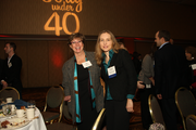 Dorota Shortell of Simplexity (right) had plenty of supporters during today's Portland Business Journal 40 Under 40 awards event.