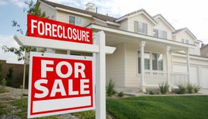 Foreclosed home sign