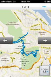 Route of hike in Forest Park mapped out by Columbia Sportswear's GPS Pal.