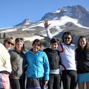 My van 1 teammates ready for takeoff at Timberline Lodge. From left: Suzanne Stevens, Michelle Lichtenfels, Nickie Bournias, Crispin Wong, Hidenao Kimura and Allie Robbins.