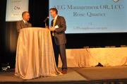 Chris Oxley, COO of AEG Management OR - Rose Quarter, accepts the top honor in the 5-99 worker category. Here he chats with Portland Business Journal publisher Craig Wessel about the health initiatives the firm has in place.