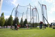 "The hammer is thrown through an enclosure, about 15-feet wide, in large ""cage."" The protection is necessary because any slight missteps could send errant hammer throws in the wrong directions. That is, away from the field where the hammers are supposed to land. The cage impeded several flings during the U.S. Olympic hammer throw trials, which took place Thursday at Nike's Ronaldo Field. When that occurs, competitors are called for a foul and lose their turn."