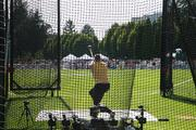 "The hammer throw is far more visual than it appears on television. It's conveyed through a series of dramatic twists in which athletes gyrate wildly before launching the hammers — which consist of metal balls, eight pounds for women and 16 pounds for men, attached to a wire — onto a grassy field. As the hammer is launched, the athletes typically let out guttural screams, and, if the hammer makes it through a narrow opening in the hammer ""cage,"" the projectile arcs through the air, landing with a decisive thump 200-plus feet away. The U.S. Olympic hammer throw trials took place Thursday at Nike's Ronaldo Field."