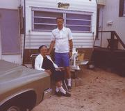 My father, Don Stevens, and great grandmother, Teresa Kubula, outside our trailer in Lavalette, N.J.