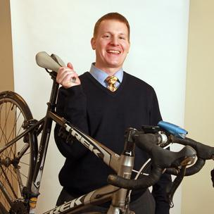 "Here's Adam Kobos and his ""lucky bike,"" which he rides to work just about every day."