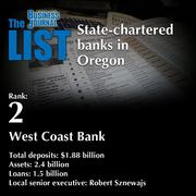 2:West Coast Bank  The full list ofstate-chartered banks in Oregon- including contact information -is available to PBJ subscribers.  Not a subscriber? Sign up for a free 4-week trial subscription to view this list and more today >>