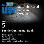 5: Pacific Continental Bank  The full list ofstate-chartered banks in Oregon - including contact information -is available to PBJ subscribers.  Not a subscriber? Sign up for a free 4-week trial subscription to view this list and more today >>