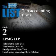 2: KPMG LLP  The full list of metro accounting firms - including contact information - is available to PBJ subscribers.  Not a subscriber? Sign up for a free 4-week trial subscription to view this list and more today >>