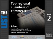2: Salem  The full list of regional chambers of commerce - including contact information -is available to PBJ subscribers.  Not a subscriber? Sign up for a free 4-week trial subscription to view this list and more today >>