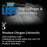 5: Western Oregon University  The full list of colleges & universities - including contact information - is available to PBJ subscribers.  Not a subscriber? Sign up for a free 4-week trial subscription to view this list and more today >>