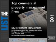 8: KG Investment ManagementThe full list of commercial property management firms - including contact information -isavailable to PBJ subscribers.Not a subscriber?Sign up for a free 4-week trial subscription to view this list and more today >>