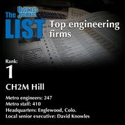1: CH2M Hill  The full list of engineering firms - including contact information - is available to PBJ subscribers.  Not a subscriber? Sign up for a free 4-week trial subscription to view this list and more today >>