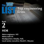 2: HDR  The full list of engineering firms - including contact information - is available to PBJ subscribers.  Not a subscriber? Sign up for a free 4-week trial subscription to view this list and more today >>