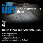 4: David Evans and Associates Inc.  The full list of engineering firms - including contact information - is available to PBJ subscribers.  Not a subscriber? Sign up for a free 4-week trial subscription to view this list and more today >>