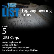 5: URS Corp.  The full list of engineering firms - including contact information - is available to PBJ subscribers.  Not a subscriber? Sign up for a free 4-week trial subscription to view this list and more today >>