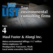 4: Maul Foster & Alongi Inc.  The full list ofenvironmental consultingfirms - including contact information -is available to PBJ subscribers.  Not a subscriber? Sign up for a free 4-week trial subscription to view this list and more today >>