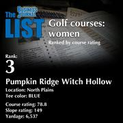 3:Pumpkin Ridge Witch HollowThe full list of top area golf courses - including contact information -isavailable to PBJ subscribers.Not a subscriber?Sign up for a free 4-week trial subscription to view this list and more today >>