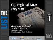 1: Marylhurst University  The full list of regional MBA programs - including contact information - is available to PBJ subscribers.  Not a subscriber? Sign up for a free 4-week trial subscription to view this list and more today >>