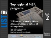2: Willamette University MBA - Atkinson Graduate School of Management  The full list of regional MBA programs - including contact information - is available to PBJ subscribers.  Not a subscriber? Sign up for a free 4-week trial subscription to view this list and more today >>