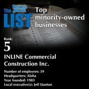 5: INLINE Commercial Construction Inc.The full list of minority-owned businesses - including contact information - is available to PBJ subscribers.Not a subscriber? Sign up for a free 4-week trial subscription to view this list and more today >>