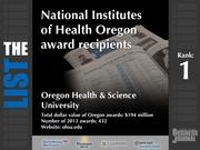 1: Oregon Health & Science University  The full list of NIH Oregon award recipients - including contact information -is available to PBJ subscribers.  Not a subscriber? Sign up for a free 4-week trial subscription to view this list and more today >>