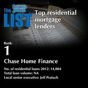 1: Chase Home Finance  The full list of residential mortgage lenders - including contact information - is available to PBJ subscribers.  Not a subscriber? Sign up for a free 4-week trial subscription to view this list and more today >>