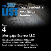 4: Mortgage Express LLC  The full list of residential mortgage lenders - including contact information - is available to PBJ subscribers.  Not a subscriber? Sign up for a free 4-week trial subscription to view this list and more today >>