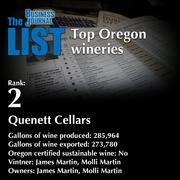 2: Quenett Cellars  The full list of Oregon wineries - including contact information - is available to PBJ subscribers.  Not a subscriber? Sign up for a free 4-week trial subscription to view this list and more today >>