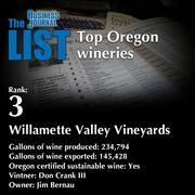 3: Willamette Valley Vineyards  The full list of Oregon wineries - including contact information - is available to PBJ subscribers.  Not a subscriber? Sign up for a free 4-week trial subscription to view this list and more today >>
