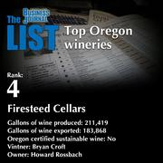 4: Firesteed Cellars  The full list of Oregon wineries - including contact information - is available to PBJ subscribers.  Not a subscriber? Sign up for a free 4-week trial subscription to view this list and more today >>