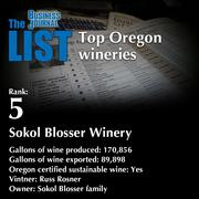 5: Sokol Blosser Winery  The full list of Oregon wineries - including contact information - is available to PBJ subscribers.  Not a subscriber? Sign up for a free 4-week trial subscription to view this list and more today >>
