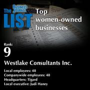9:Westlake Consultants Inc.The full list ofwomen-owned businesses- including contact information -isavailable to PBJ subscribers.Not a subscriber?Sign up for a free 4-week trial subscription to view this list and more today >>