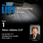 1: Moss Adams LLP  The full list oftop regionalaccountingfirms– including contact information – is available to PBJ subscribers.  Not a subscriber? Sign up for a free 4-week trial subscription to view this list and more today >>