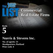 5: Norris & Stevens Inc.  The full list of regional commercial real estate firms – including contact information – is available to PBJ subscribers.  Not a subscriber? Sign up for a free 4-week trial subscription to view this list and more today >>