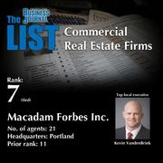 7: Macadam Forbes Inc.  The full list of regional commercial real estate firms – including contact information – is available to PBJ subscribers.  Not a subscriber? Sign up for a free 4-week trial subscription to view this list and more today >>