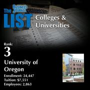 3: University of Oregon  The full list of regional colleges & universities – including contact information – is available to PBJ subscribers.  Not a subscriber? Sign up for a free 4-week trial subscription to view this list and more today >>
