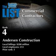 4: Andersen Construction  The full list of regional commercial contractors – including contact information – is available to PBJ subscribers.  Not a subscriber? Sign up for a free 4-week trial subscription to view this list and more today >>