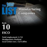 10: ESCO The full list of top manufacturing companies – including contact information – is available to PBJ subscribers. Not a subscriber? Sign up for a free 4-week trial subscription to view this list and more today >>