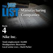 4: Nike Inc.  The full list oftopmanufacturingcompanies – including contact information – is available to PBJ subscribers.  Not a subscriber? Sign up for a free 4-week trial subscription to view this list and more today >>