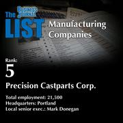 5: Precision Castparts Corp.  The full list of topmanufacturingcompanies – including contact information – is available to PBJ subscribers.  Not a subscriber? Sign up for a free 4-week trial subscription to view this list and more today >>