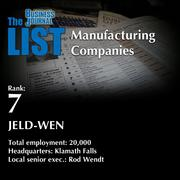 7: JELD-WEN The full list of topmanufacturingcompanies – including contact information – is available to PBJ subscribers. Not a subscriber? Sign up for a free 4-week trial subscription to view this list and more today >>