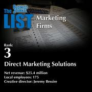 3: Direct Marketing Solutions  The full list ofregionalmarketing firms- including contact information -is available to PBJ subscribers.  Not a subscriber? Sign up for a free 4-week trial subscription to view this list and more today >>
