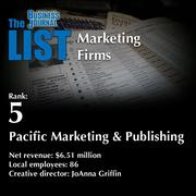 5: Pacific Marketing & Publishing  The full list ofregionalmarketing firms- including contact information -is available to PBJ subscribers.  Not a subscriber? Sign up for a free 4-week trial subscription to view this list and more today >>