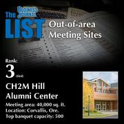 3 (tied): CH2M Hill Alumni Center  The full list ofout-of-area meeting sites– including contact information – is available to PBJ subscribers.  Not a subscriber? Sign up for a free 4-week trial subscription to view this list and more today >>