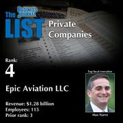 4: Epic Aviation LLC  The full list oftop regional private companies– including contact information – is available to PBJ subscribers.  Not a subscriber? Sign up for a free 4-week trial subscription to view this list and more today >>