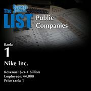 1: Nike Inc.  The full list oftoplocally based public companies– including contact information – is available to PBJ subscribers.  Not a subscriber? Sign up for a free 4-week trial subscription to view this list and more today >>